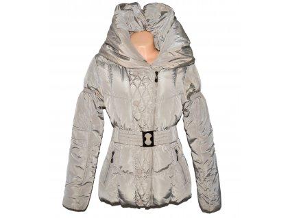 Dámský béžový prošívaný zimní kabát s páskem Glo-story M