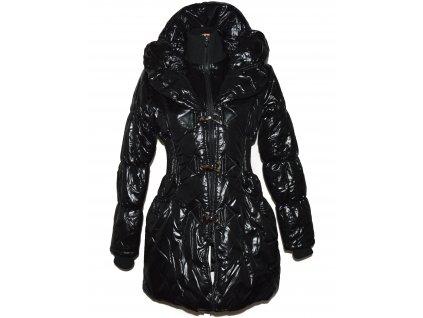 Dámský černý prošívaný kabát na zip a karabinky L/XL