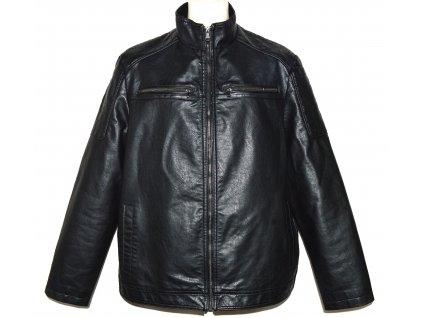 Pánská černá koženková bunda na zip F&F XXL