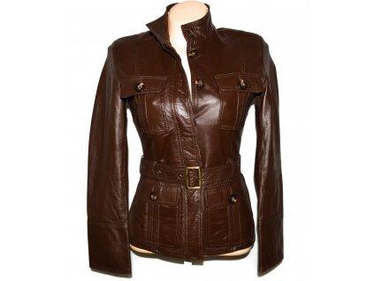 KOŽENÝ dámský hnědý měkký kabát s páskem S