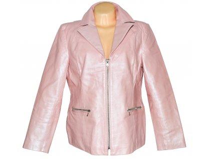 KOŽENÁ dámská růžová perleťová bunda na zip L/XL