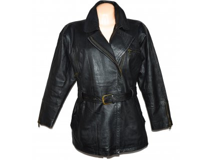 KOŽENÝ dámský černý zateplený kabát - křivák s páskem XXL