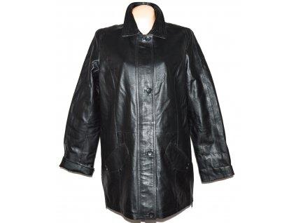 KOŽENÝ dámský černý zateplený kabát na zip a knoflíky Felicitas XL