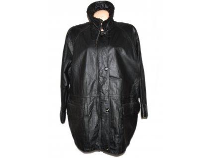 KOŽENÝ dámský černý zateplený kabát na zip a cvoky XXL