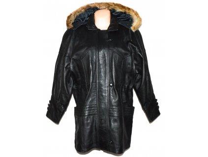 KOŽENÁ dámská černá zateplená parka s kapucí, pravý kožíšek CARRERA XXL