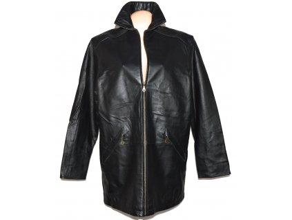 KOŽENÝ dámský černý měkký kabát na zip XXL