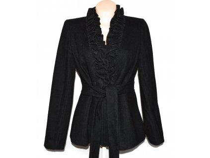 Vlněný (64%) dámský černý kabát s páskem H&M L