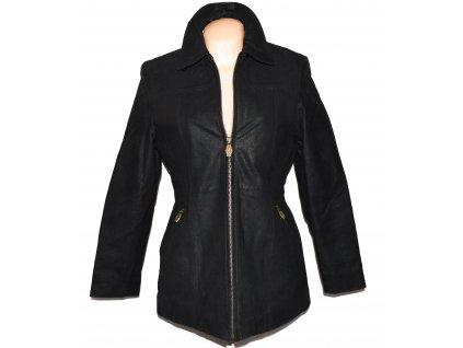 KOŽENÝ dámský černý zateplený kabát Kenvelo 36