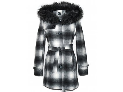 Vlněný dámský šedý kostkovaný zateplený kabát s páskem a kapucí Lena 42