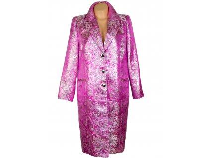 Extravagantní dámský růžovo-stříbrný kabát XL