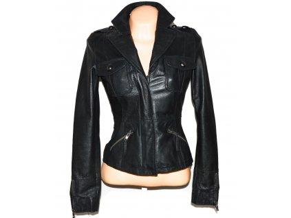 KOŽENÉ dámské černé měkké sako na zip AMISU 34