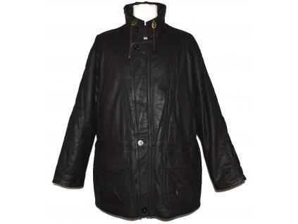 KOŽENÝ pánský hnědý zateplený kabát na zip E. B. Company 50