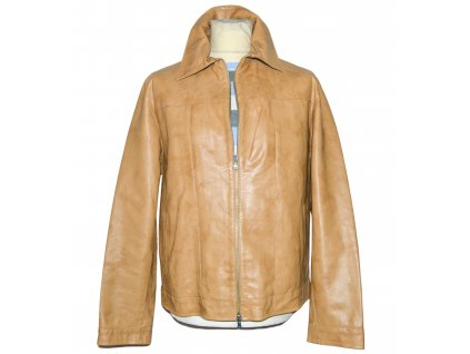 KOŽENÁ pánská hnědá měkká bunda na zip PELLE L