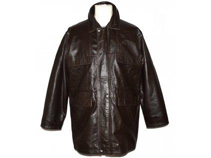 KOŽENÁ pánská hnědá měkká zateplená bunda na zip Vera Pelle XL