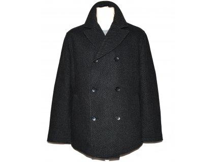 Vlněný (70%) pánský šedočerný zateplený kabát BLAŽEK 52