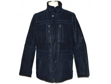 KOŽENÁ pánská modrá zateplená bunda na zip C&A L