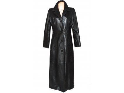 KOŽENÝ dámský černý dlouhý měkký kabát GIPSY L