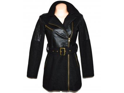 Vlněný (50%) dámský černý kabát - křivák s páskem Brave Soul XS 3