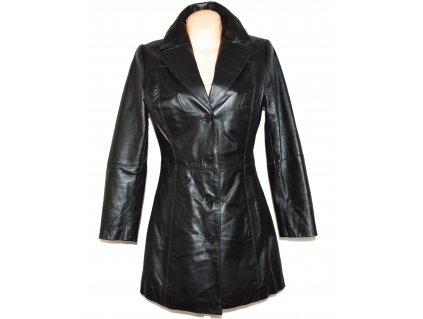 KOŽENÝ dámský černý zateplený měkký kabát 5th Avenue L 3