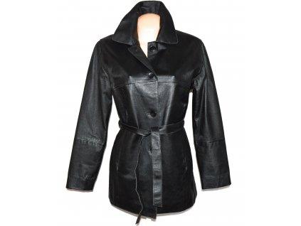 KOŽENÝ dámský černý měkký kabát s páskem C&A 10/36