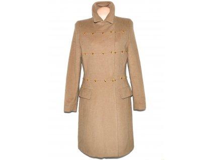 Vlněný (70%) dámský hnědý kabát se zlatým zdobením MAXIMA 40