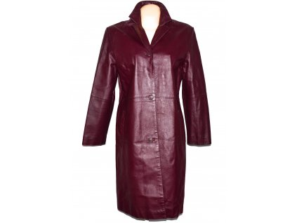 KOŽENÝ dámský dlouhý vínový kabát XL