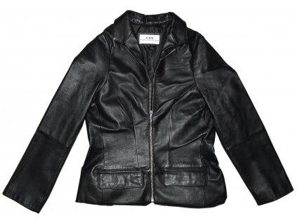KOŽENÁ dámská černá měkká bunda na zip Fashion Concept S