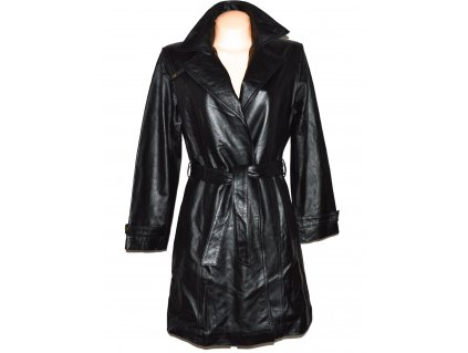 KOŽENÝ dámský černý měkký kabát s páskem Centigrade M