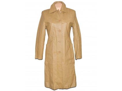 KOŽENÝ dámský béžový kabát SKIN TONES M