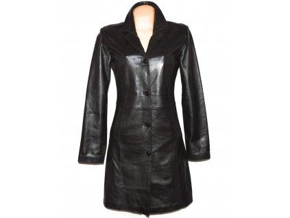 KOŽENÝ dámský černý měkký kabát 38
