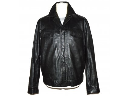 KOŽENÁ pánská černá měkká bunda na zip GIPSY L