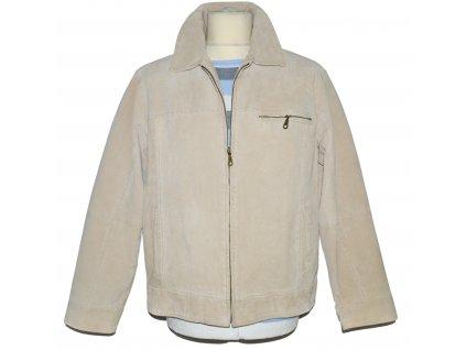 KOŽENÁ pánská smetanová semišová bunda na zip Le Frog Casual L