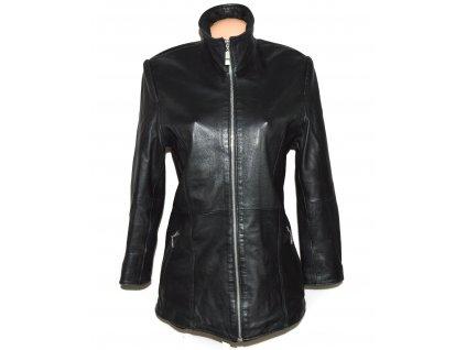 KOŽENÝ dámský černý měkký kabát na zip Cabrini S/M