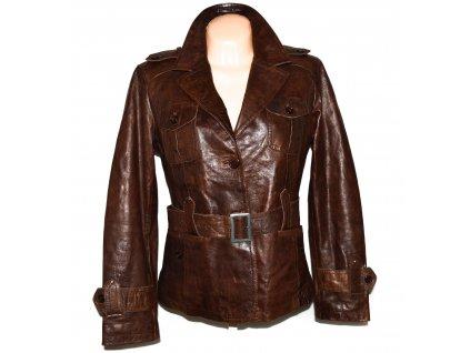 KOŽENÝ dámský hnědý měkký kabát s páskem Jakes 44