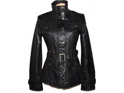 KOŽENÝ dámský černý měkký kabát s páskem Philip Russel M