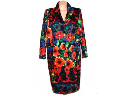 Extravagantní dámský dlouhý kabát s květinovým vzorem XL
