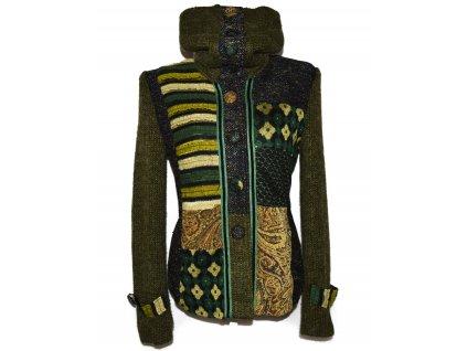 Extravagantní dámský zelený žakárový kabát LULU XL