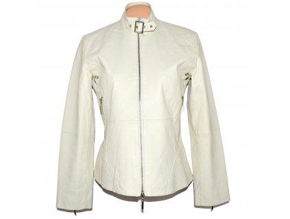 KOŽENÁ dámská smetanová měkká bunda na zip TCM M