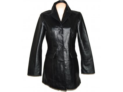 KOŽENÝ dámský černý měkký kabát M