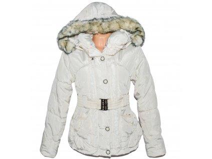 Dámský smetanový prošívaný zimní kabát s páskem a kapucí FOREST M