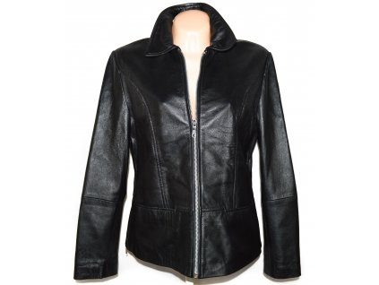 KOŽENÁ dámská černá měkká bunda na zip JOY 44