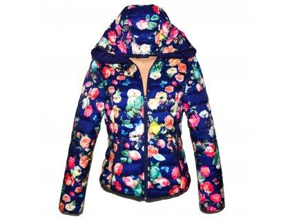 Dámská barevná prošívaná bunda s květinovým vzorem s kapucí M