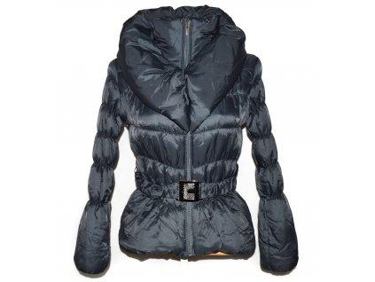 Dámský šedý prošívaný kabát s páskem a límcem S