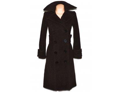 Vlněný (80%) dámský dlouhý hnědý kabát ZARA XS