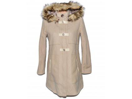 Vlněný (73%) dámský béžový kabát s kapucí Pause Café 38