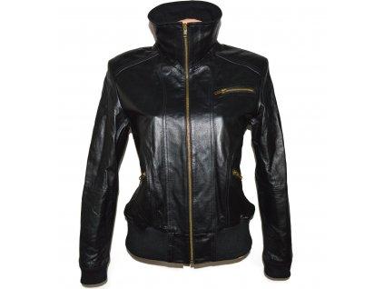 KOŽENÁ dámská černá zateplená měkká bunda na zip Boysens L