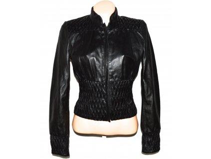 KOŽENÁ dámská černá měkká bunda na zip XS