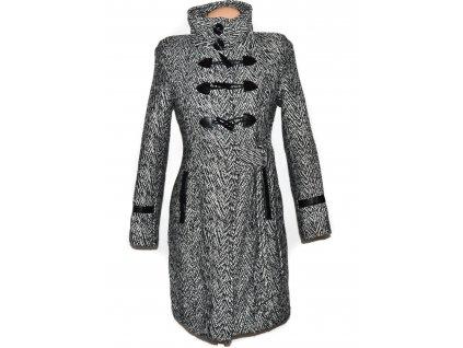 Vlněný (80%) dámský černobílý zateplený kabát S
