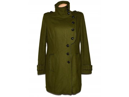 Vlněný (60%) dámský khaki zelený kabát F&F XL/XXL