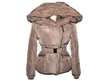 Dámský hnědý prošívaný kabát s páskem Honey Winter L